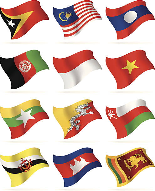 stockillustraties, clipart, cartoons en iconen met collection of asian flags waving isolated on white - indonesische vlag