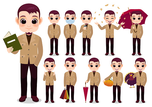 Collection of Autumn boy cartoon character outdoor activities with Jacket Khaki color , isolated cartoon on white background vector illustration