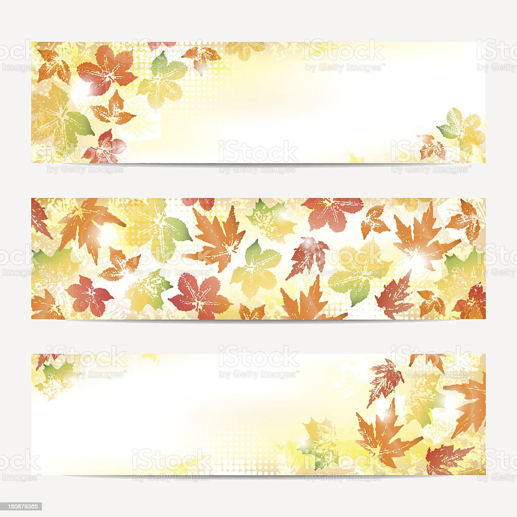 Collection of autumn bunners royalty-free stock vector art