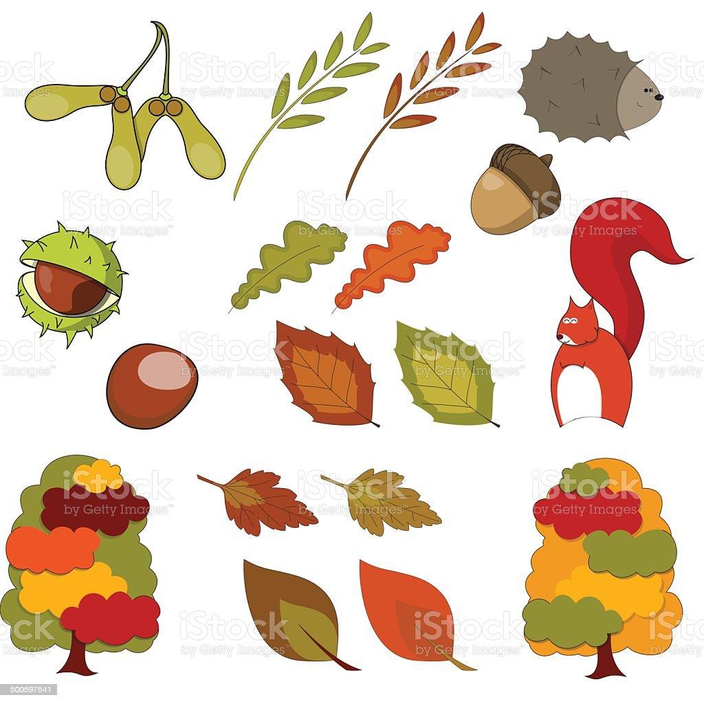 Collection of Autumn Clip Art Vectors vector art illustration