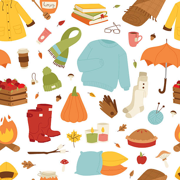 Collection of autumn items Collection of autumn items seamless pattern. Clothes related to autumn and winter. Clothes autumn, winter symbols seamless pattern and icons headscarf stock illustrations
