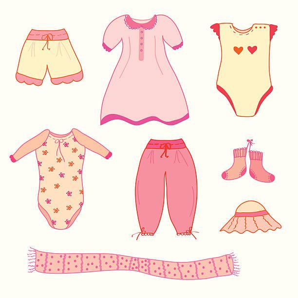sammlung von nizza kleidung für babys – mädchen - pastellhosen stock-grafiken, -clipart, -cartoons und -symbole