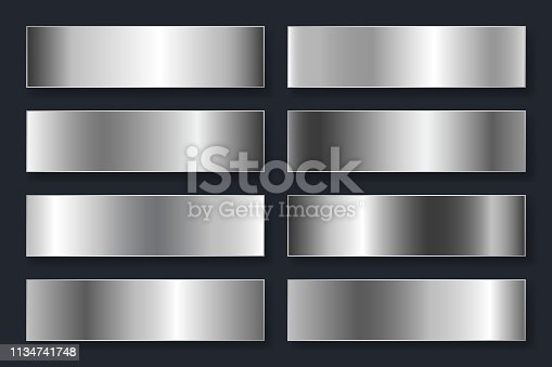 Collection of backgrounds with a metallic gradient. Brilliant plates with silver chrome effect. Vector illustration.