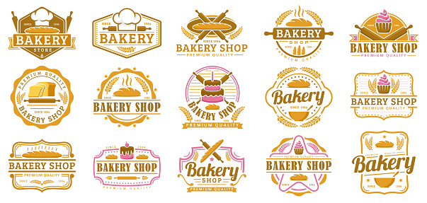 A collection of Bakery badge template, Bakery shop emblem set, vintage retro style pack