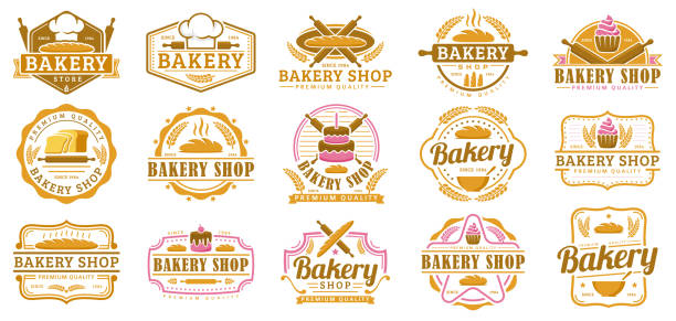 a collection of bakery badge template, bakery shop emblem set, vintage retro style pack - пекарня stock illustrations