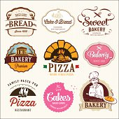 Collection of  BAKERY, CAKES and PIZZA  badges and labels.