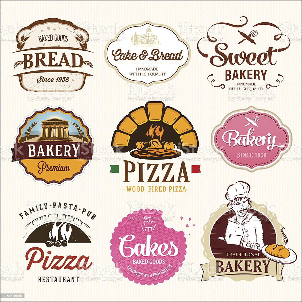 Collection of  BAKERY, CAKES and PIZZA  badges and labels vector art illustration