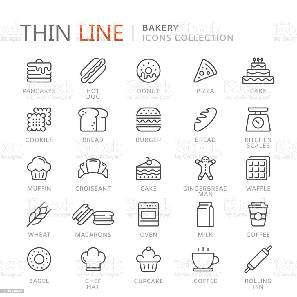 Collection of bakery thin line icons vector art illustration