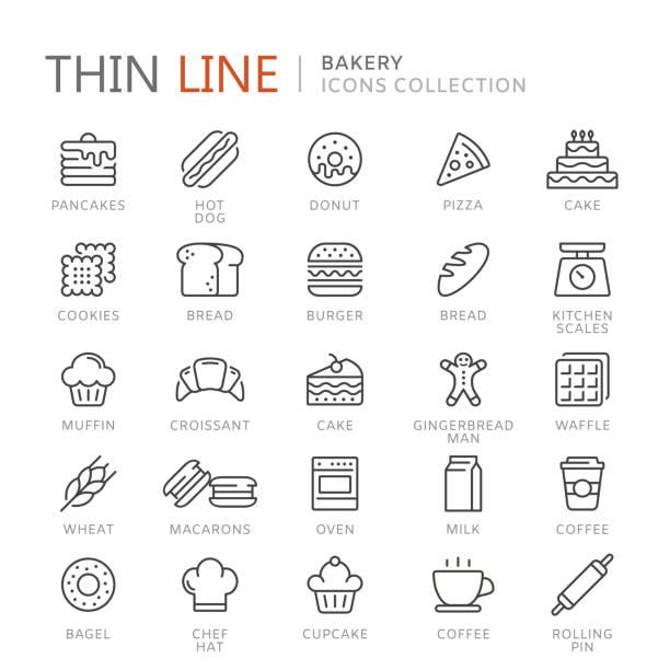 illustrazioni stock, clip art, cartoni animati e icone di tendenza di collection of bakery thin line icons - pane forno
