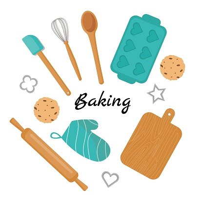 Collection of baking accessories.