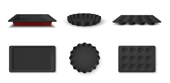 Collection of baking dish front and top view vector illustration. Aluminium kitchenware for cooking