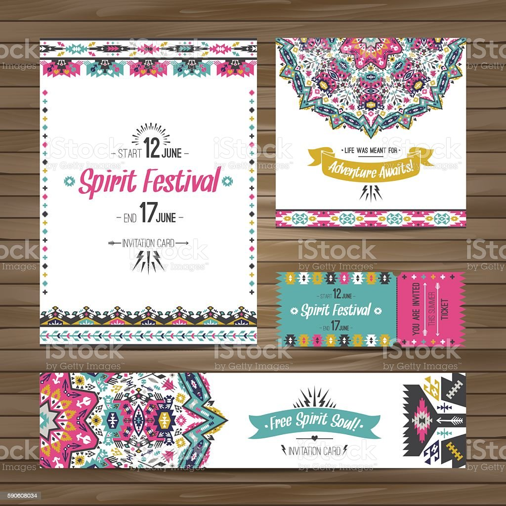 Collection of banners, flyers or invitations with geometric elements​​vectorkunst illustratie