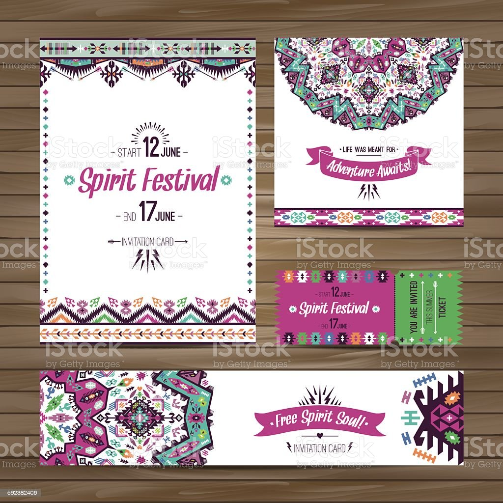 Collection of banners, flyers or invitations with geometric elements vector art illustration