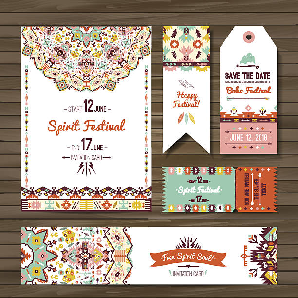 collection of banners, flyers or invitations with geometric elements - bohemian fashion stock illustrations, clip art, cartoons, & icons