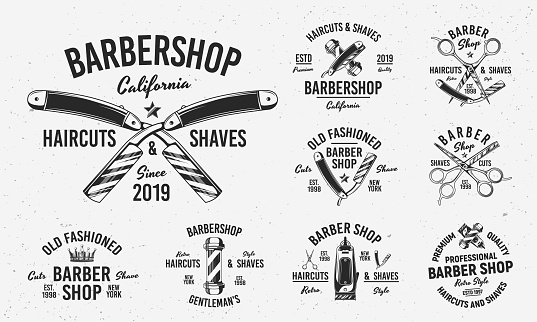 Collection of Barbershop emblems, labels, badges. Set of 9 logo templates. Trendy monochrome style. Vector templates