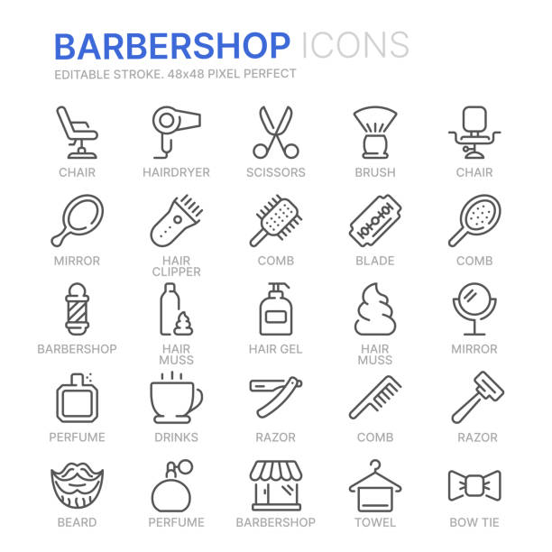 collection of barbershop line icons. 48x48 pixel perfect. editable stroke - salon urody stock illustrations