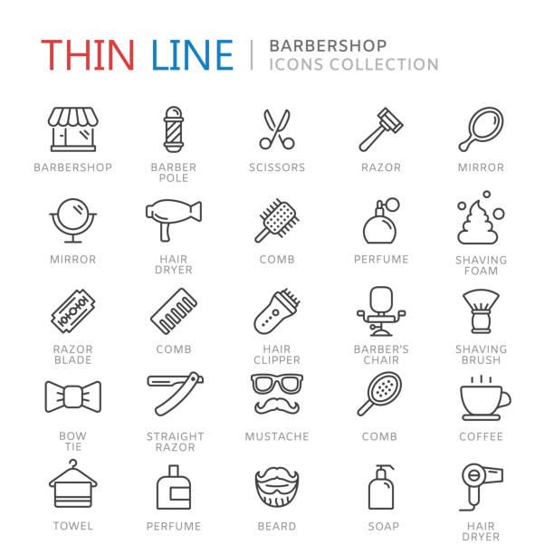 stockillustraties, clipart, cartoons en iconen met verzameling van barbershop dunne lijn icons - handspiegel