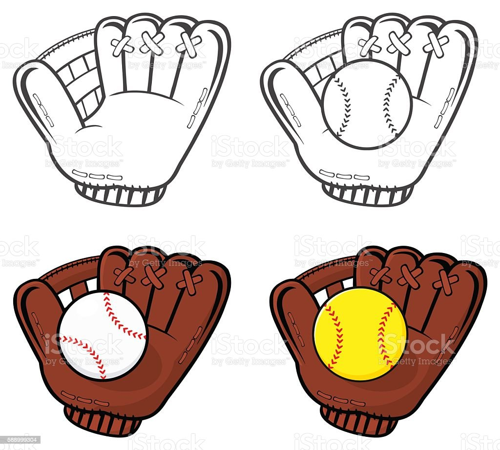 Collection of Baseball Glove With Softball royalty-free collection of baseball glove with softball stock illustration - download image now