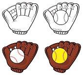Collection of Baseball Glove With Softball