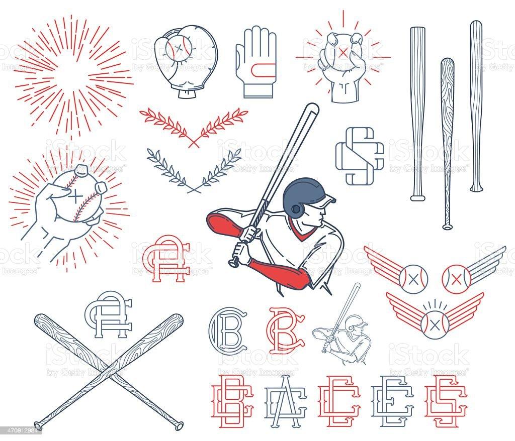 Collection of Baseball symbols vector art illustration