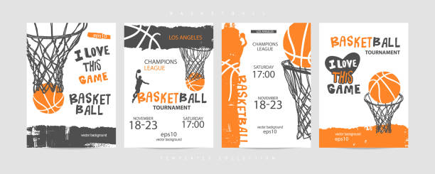Collection of basketball designs on a white background, grunge style, sketch, lettering. Hand drawing. Sports print, cover, slogan, template, sports covers, basketball hoop. EPS file is layered. Basketball  sports print, cover, slogan, template. basketball stock illustrations