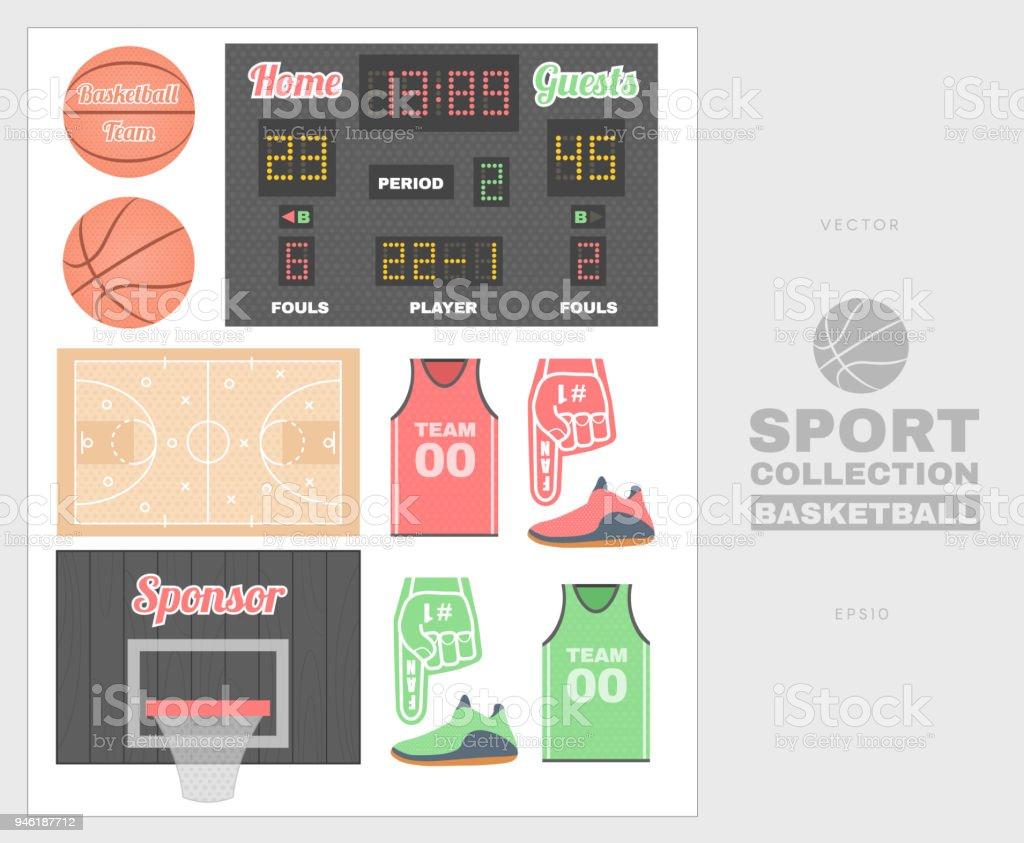 Collection of basketball equipment. Ball, game plan, score, sports form. Good for creating sports sites and posters. vector art illustration