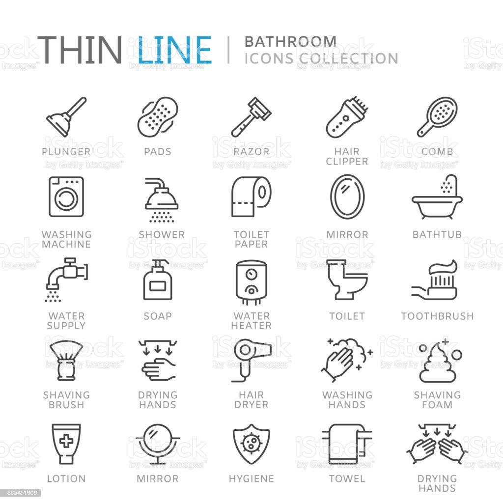 Coleção de ícones de linha fina de banheiro - ilustração de arte em vetor