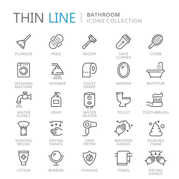 illustrazioni stock, clip art, cartoni animati e icone di tendenza di collection of bathroom thin line icons - bagno