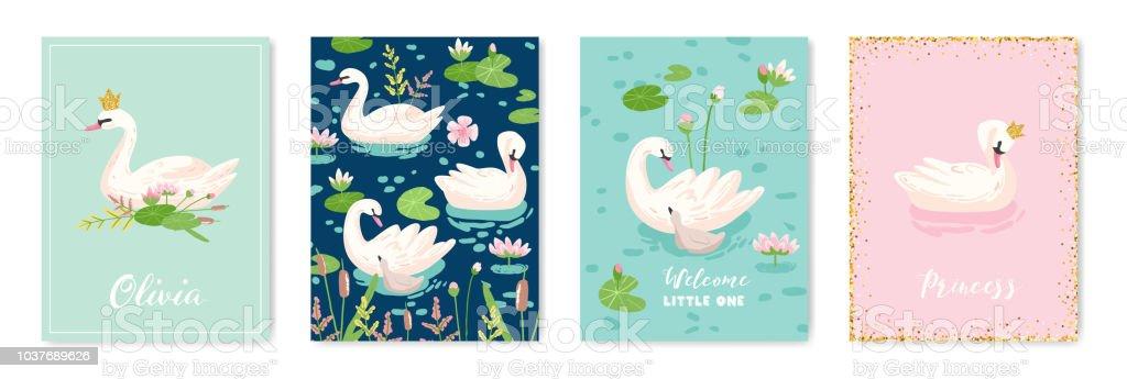 Ilustración De Colección De Hermosos Cisnes Posters Para