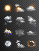 Collection of beautiful vector realistic weather symbols/icons - meteorology, forecast