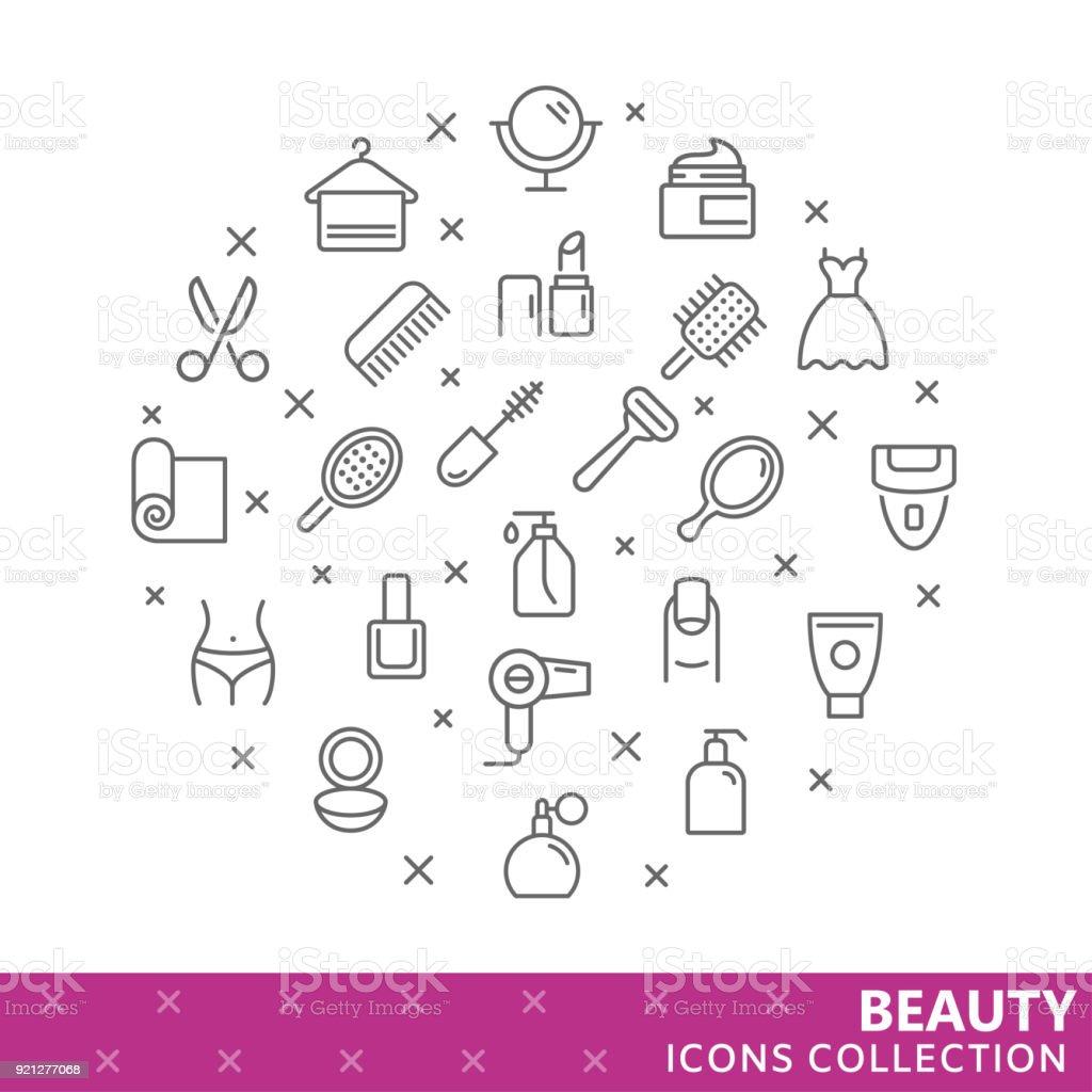 Colección de iconos de delgada línea de belleza - ilustración de arte vectorial