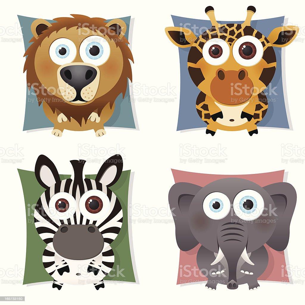 collection of bigeyed safari animals lion giraffe zebra elephant