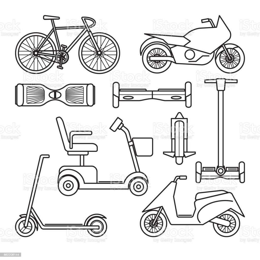 Collection of bike and scooter icons vector art illustration