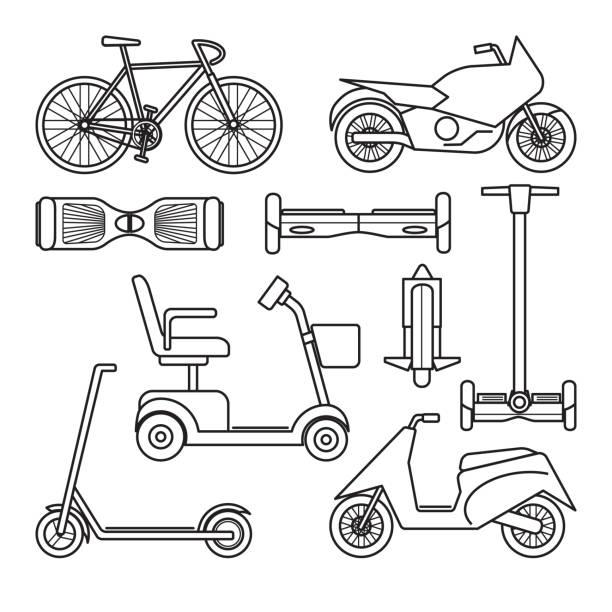 stockillustraties, clipart, cartoons en iconen met verzameling van fiets- en scooterverhuur icons - step