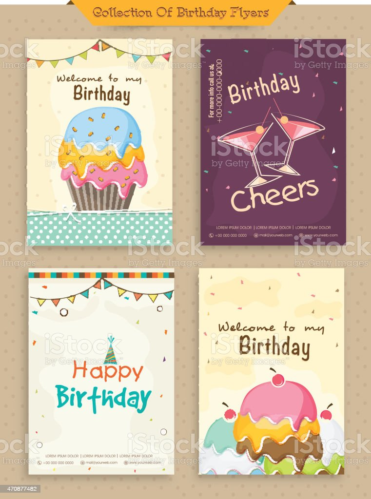 collection of birthday flyers stock vector art 470877482 istock