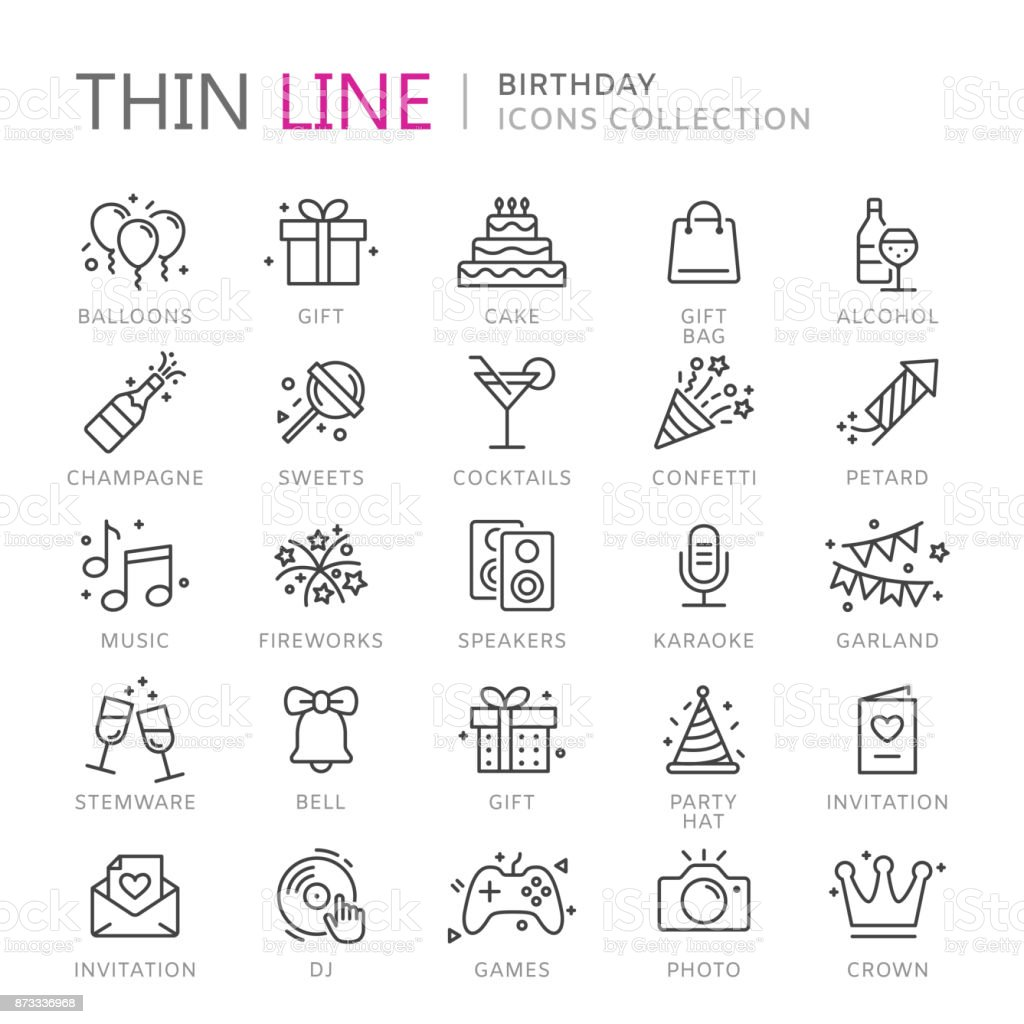Collection of birthday thin line icons