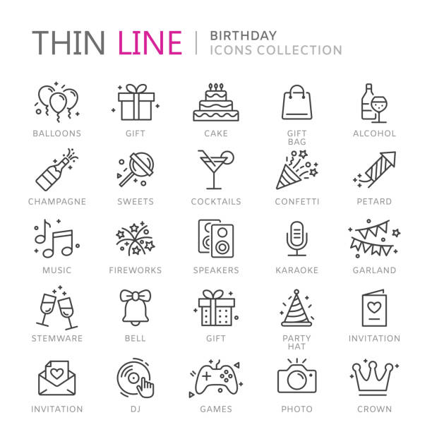 Collection of birthday thin line icons Collection of birhtday thin line icons. Vector eps10 birthday icons stock illustrations