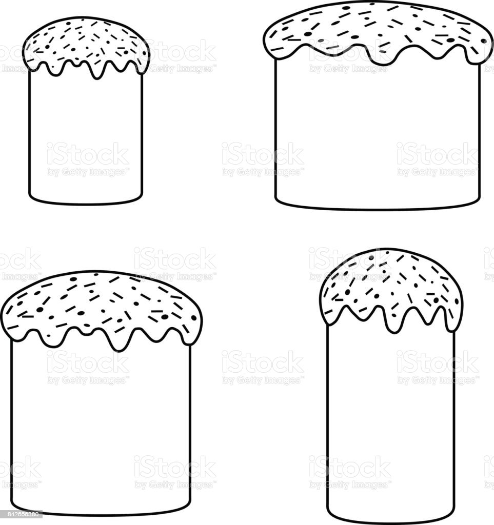 collection of black and white cakes vector art illustration