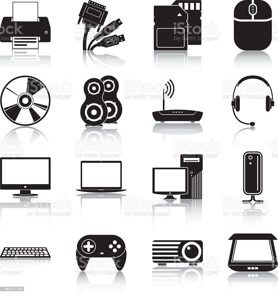 Collection of black and white electronics icons royalty-free collection of black and white electronics icons stock vector art & more images of black color