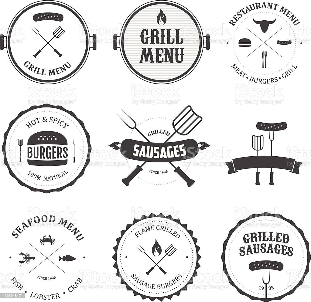 Collection of black and white restaurant menu designs vector art illustration