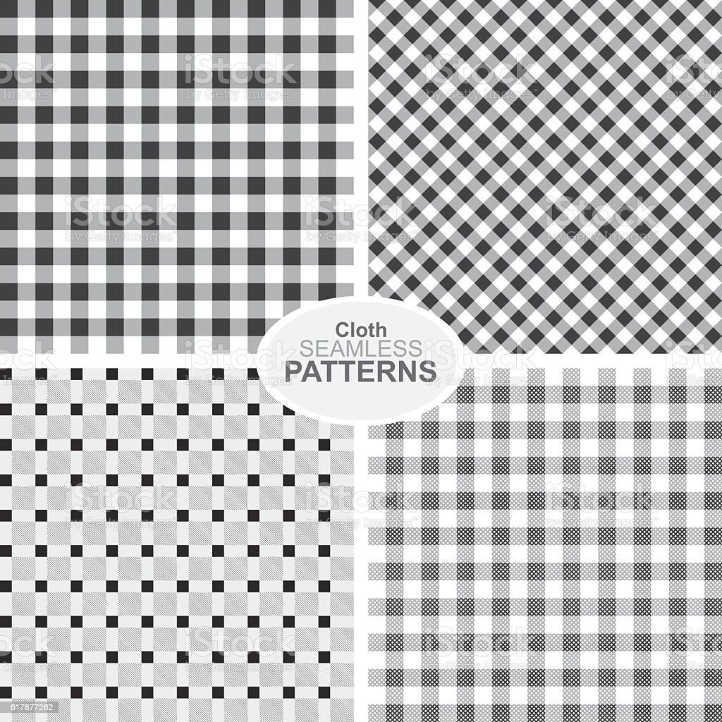 Collection of black and white seamless textile patterns. vector art illustration