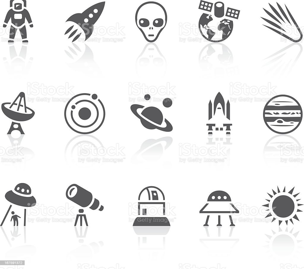 Collection of black and white space icons royalty-free stock vector art