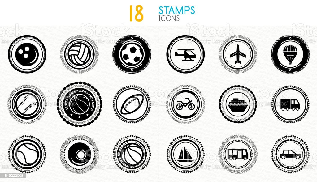 Collection of black and white stamps - quality and concept icons vector art illustration