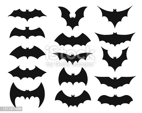 Bat symbol set. Collection of black silhouettes of mysterious flying nocturnal animals with flapping wings isolated on white background. Halloween decoration. Flat monochrome vector illustration.
