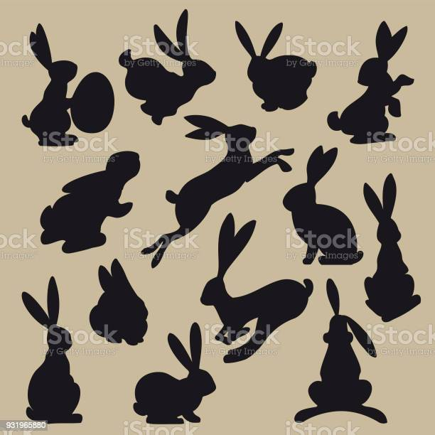 Collection of black easter rabbit silhouettes vector id931965880?b=1&k=6&m=931965880&s=612x612&h=pzkp yconjariwab9klait18fjubao gfh9ig6urdyo=