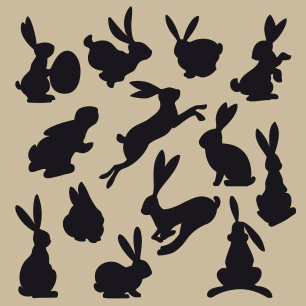 Collection of black easter rabbit silhouettes vector art illustration