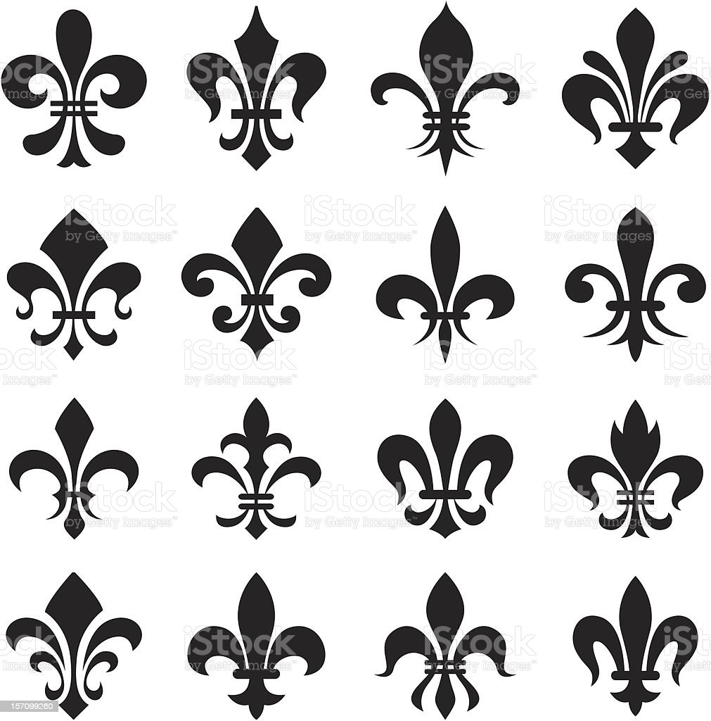 Collection of black fleur de lys in different shapes vector art illustration