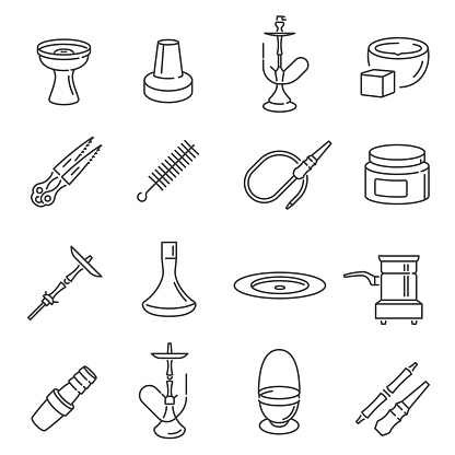 Collection of black monochrome hookah icons vector illustration linear smoking tobacco equipment