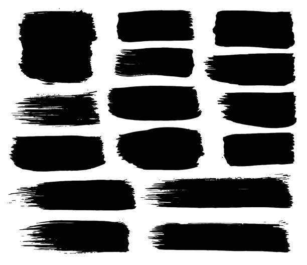 검은 페인트, 잉크 브러시 스트로크, 브러쉬, 라인의 컬렉션입니다. 더러운 예술적 디자인 요소, 박스, 프레임입니다. 흰색 배경에 고립. freehand 도면입니다. - 때묻은 stock illustrations