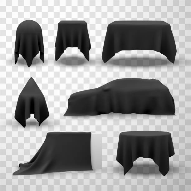 Collection of black satin clothes covering tables vector art illustration